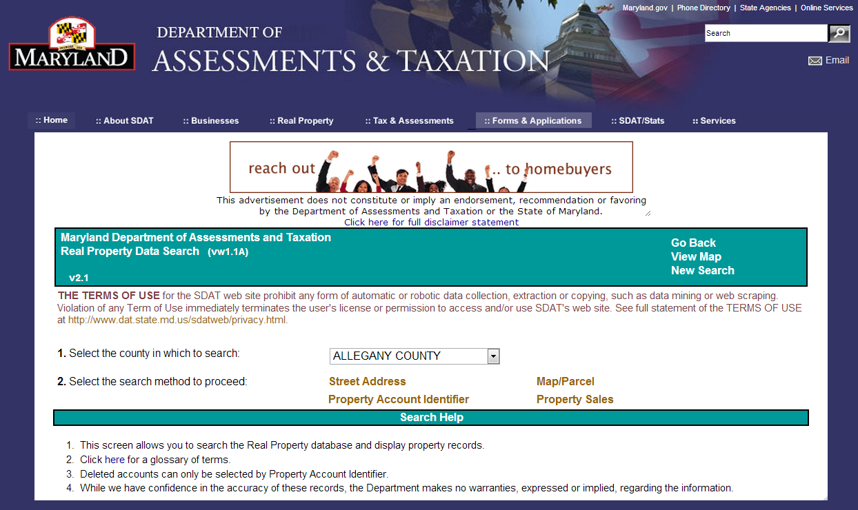 Maryland Department Of Assessments And Taxation Real Property Data Search